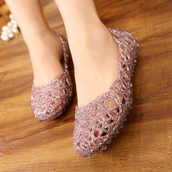 Clear Jelly Shoes Womens Jelly Sandals Summer plastic shoes Woman Mesh flat shoes Hollow Out Girl sandalias sapatos RD864521