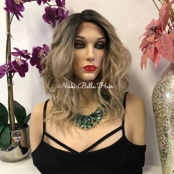 Blond Balayage Swiss Lace Front Wig 14 Inches   Deep Parting   Volume Waves Layered Hair   Butlet  1018 23