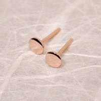Petite Rose Gold Studs 4mm Flat Gold Earrings 14k Pink Gold Posts by SARANTOS