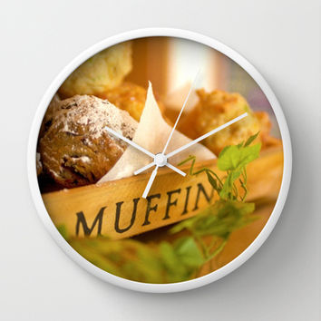 Muffins, fresh and warm, thanks Mom! Wall Clock by Bruce Stanfield