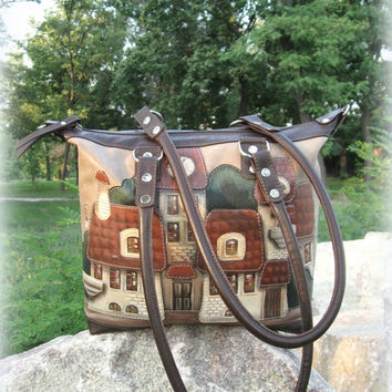 Leather bag with applique and painted houses purse brown leather Tote Bag hand-painted purse