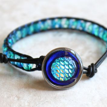 Ocean blue mermaid scale beaded leather bracelet