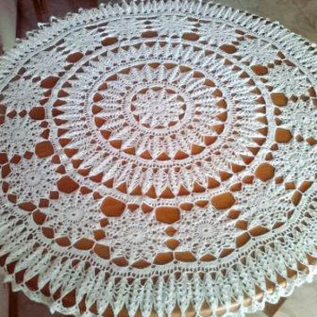 Hand Crocheted Doily. Crochet Tablecloth. Handmade Doilies. Unique Housewarming Gift Ideas By Three Snails. Free Shipping!