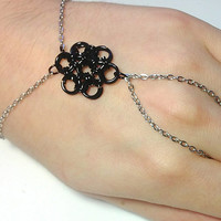 Black Flower Ring Bracelet Chainmaille, Hand Jewelry, Gothic, Hand Bracelet, rocker, Chainmaille Jewelry, Slave Bracelet, 50 Shades of Grey