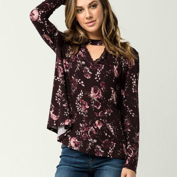 COCO & JAIMESON Floral Keyhole Womens Top