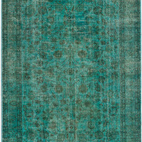 "6'7"" x 9'8"" Aqua Green Turkish Overdyed Rug"