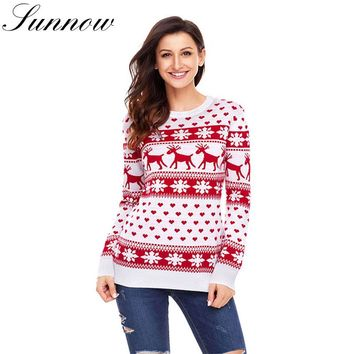 SUNNOW Christmas Sweater Women Autumn Winter Deer Snow Pattern Patchwork Ugly Sweaters Knitted Female Jumpers Pullovers Knitwear