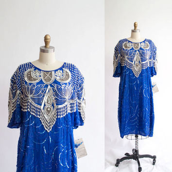 Vintage 80s Beaded Dress / Atlantic Blue Silk by GingerRootVintage