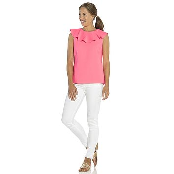 Poly Crepe Ruffle Neck Top in Hibiscus by Sail to Sable