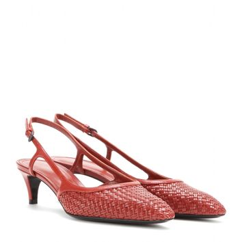 bottega veneta - woven leather kitten-heel pumps