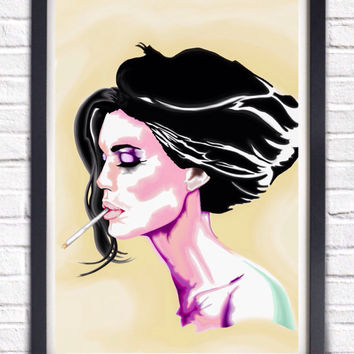 Trippy Girl w Cigarette Watercolor Style, Pink, Purple, Turquoise,Yellow, Cat Eyes Lady Poster Print