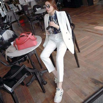 Womens Business Suit Women Temperament Slim Loose Ol Lady Set Female Casual Suit 2 Pieces Sets