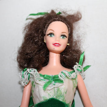 Mattel Barbie Doll w Clothing, Green Long Flowing Dress, Long Brown Curly Hair, Doll Clothing, Barbie Fashion, Earrings Included, Toys, NICE