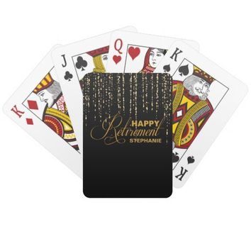 Gold and Black Retirement Party Playing Cards
