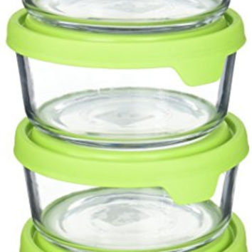 Anchor Hocking TrueSeal Glass Food Storage Containers with Airtight Lids, Green, 7 Cup (Set of 4)