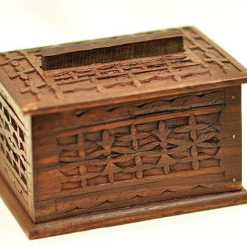Hand Carved Ebony Wood Box