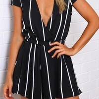Deep V- Neckline Pinstriped Black Romper