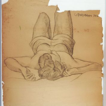 Distressed 1950's Drawing Female Figure Study