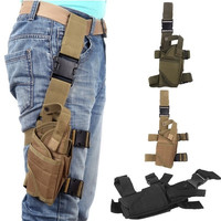 2014 NEW Outdoor Military Hunting Tactical Puttee Thigh Leg Pistol Gun Holster Pouch Bag Wrap-around Khaki/Green/Black = 1696899460