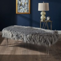 Karren Glam Rectangle Faux Fur Ottoman Bench by Christopher Knight Home | Overstock.com Shopping - The Best Deals on Benches