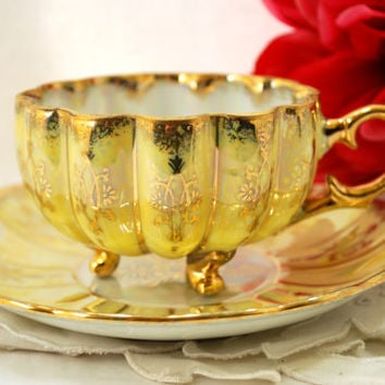 Vintage Tri Foot Tea Cup and Saucer Lusterware Pale Yellow and Gold Japan Tea Set