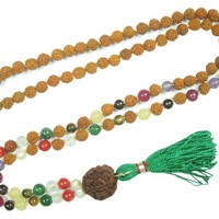 Nine Planets Mala Beads Rudraksha Reiki Yoga Meditation Japamala Buddhist Prayer Necklace