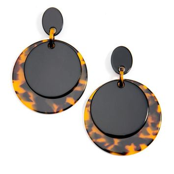Black and Tortoise Drop Earrings