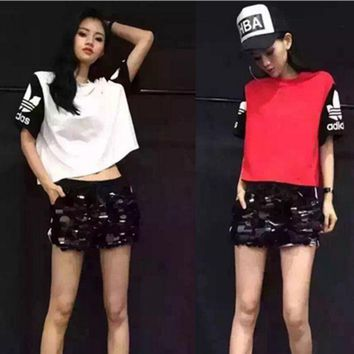 DCCKSP2 Fashion Leisure Two-piece Loose Short-Sleeve T-Shirt + Sequin Sweatpants