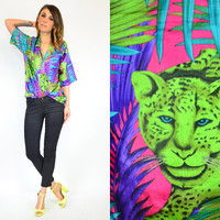 avant garde NEON resort hipster JUNGLE short-sleeve BLOUSE top, extra small-medium