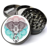 Elephant Mandala Extra Large 4 Chamber Spice & Herb Grinder With Microfine Screen