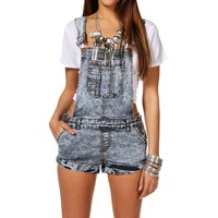 Sale Dark Acid Wash Short Overalls