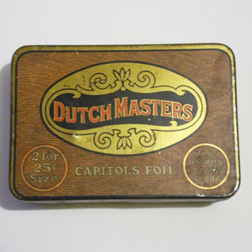 FREE SHIPPING - Cigar Box/Tin Cigar Box/Vintage Cigar Tin/Dutch Masters Box/Metal Box/Vintage Metal Box/Advertising