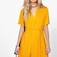 Monnie Short Sleeve Tie Waist Wrap Dress | Boohoo