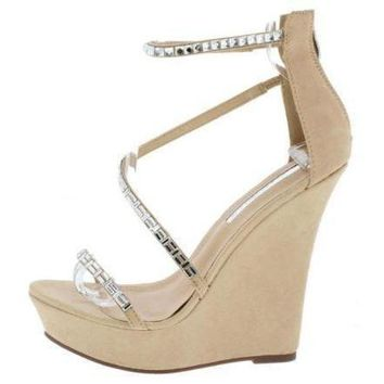 Women's Tans Rhinestone Platform Wedge Wedding Sandals