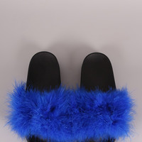 Blue Faux Fur Slippers