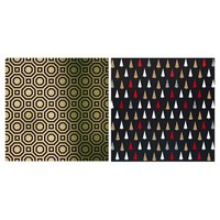 Holiday Premium Wrapping Paper - Gold and Geometric Black Trees