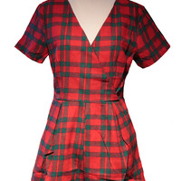 Red & Green Plaid Diamond Back Romper