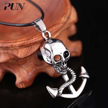 PUN punk titanium steel chain necklace men chocker neckless choker hip hop gothic anchor skull pendant necklace mens chains male