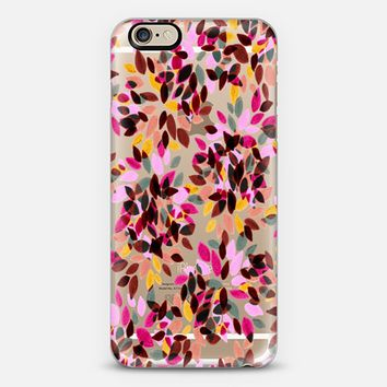 DAHLIA DOTS 5 - Colorful Rainbow Pastel Hot Pink Rust Brown Yellow Grey Black Polka Dots Floral Abstract Watercolor Flowers Painting Pattern Art Transparent Fun Multicolor Garden Blooms iPhone 6 case by Ebi Emporium | Casetify