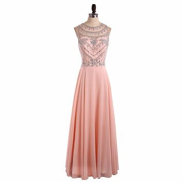 HONGFUYU Sparkling Ombre Chiffon Beaded Baby Pink Long Cheap Prom Dresses 2017 A Line Zipper-Up Floor Length Party Dress Custom