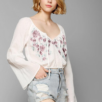 Kimchi Blue Secret Garden Bell-Sleeve Cropped Top - Urban Outfitters