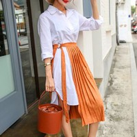 Inset Pleated Skirt Shirtdress