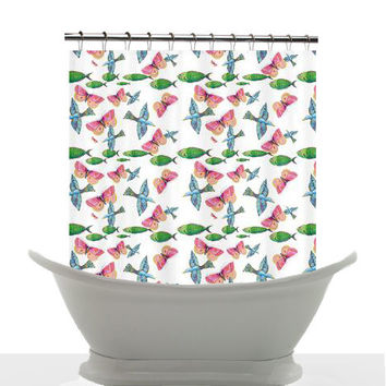 All Creatures pattern artistic watercolor shower curtain, animals, pattern, painted, colorful, decor, home