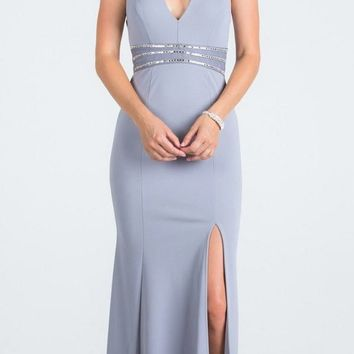 V-Neck Halter Long Formal Dress Silver with Slit