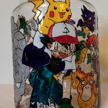 Fan Art Pokemon Inspired Mixed Charaters Stained Glass Candle Holder Jar w Lid