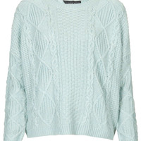 Petite Knitted Cable Boxy Jumper
