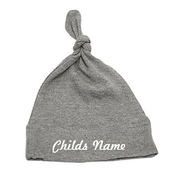 Custom Personalized Monogrammed/Embroidered Top Knot Baby Beanie Hat