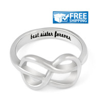"Sister Gift - Delicate Infinity Ring Engraved on Inside with ""Best Sister Forever"", Sizes 6 to 9"