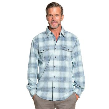 Trestle Vintage Plaid Cord Long Sleeve 2 Pocket Shirt in Aqua by True Grit - FINAL SALE