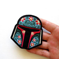 Boba Fett Embroidered Patch, Iron on, Fashion Patch, Jacket Patch, Patchgame, Fan Patch, Movie Patch, Fandom, Boba Fett Helmet, Star Wars